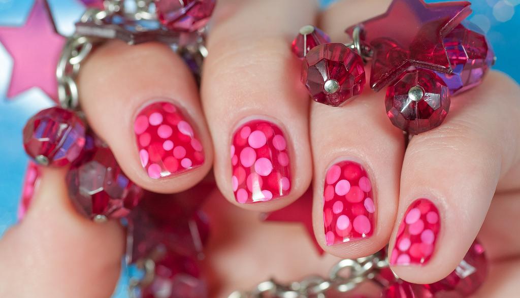 polka dot pink nail design