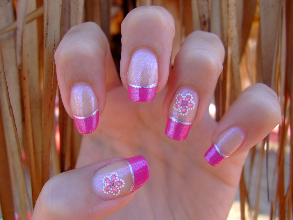 Cute Pink Tip Nail Design With Flower - 25+ Pink Summer Nail Arts, Ideas Design Trends - Premium PSD