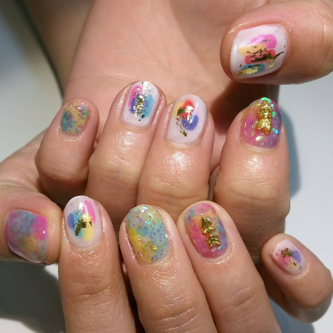 pretty summer acrylic nail art