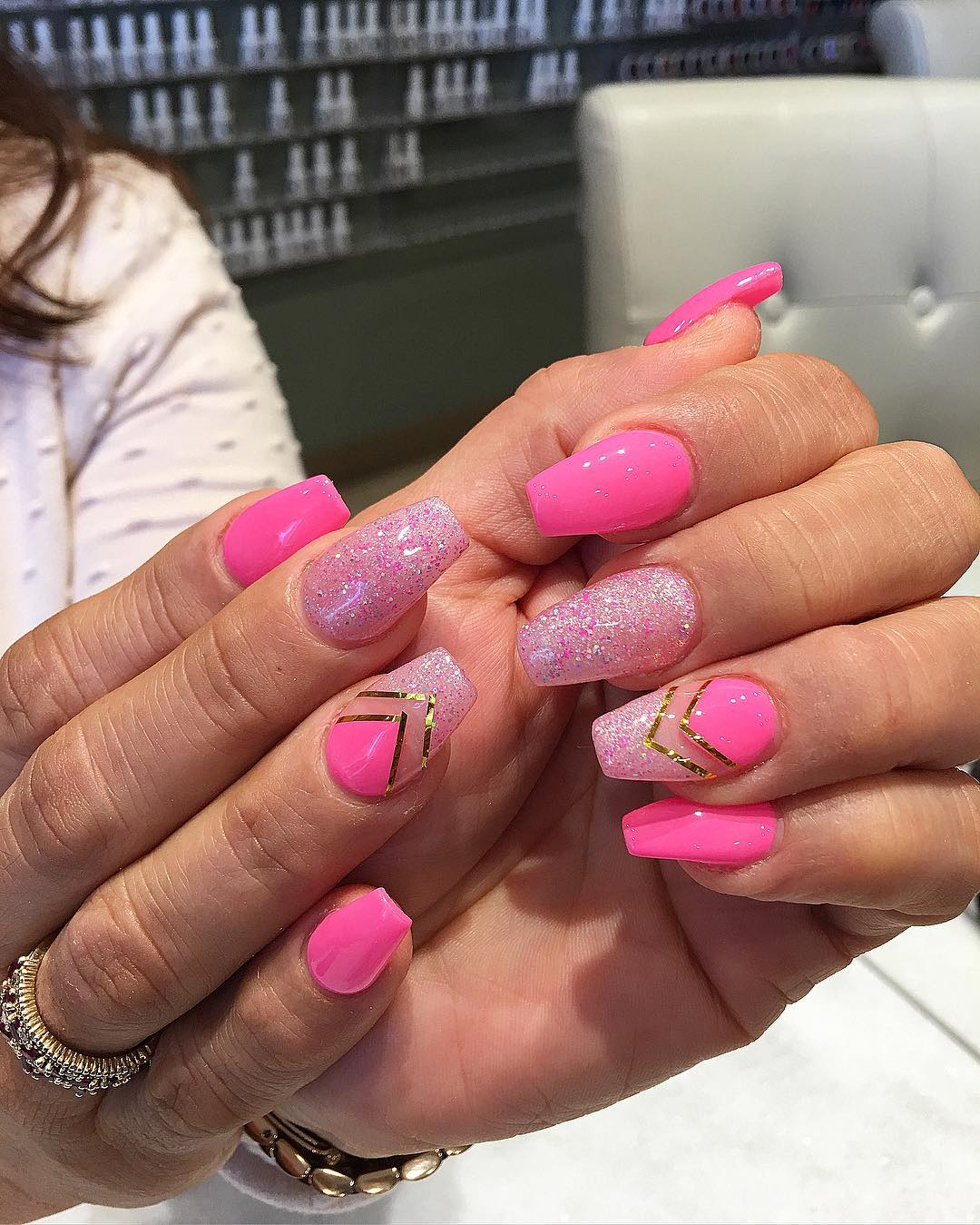 Acrylic Glitter Pink Summer Nails