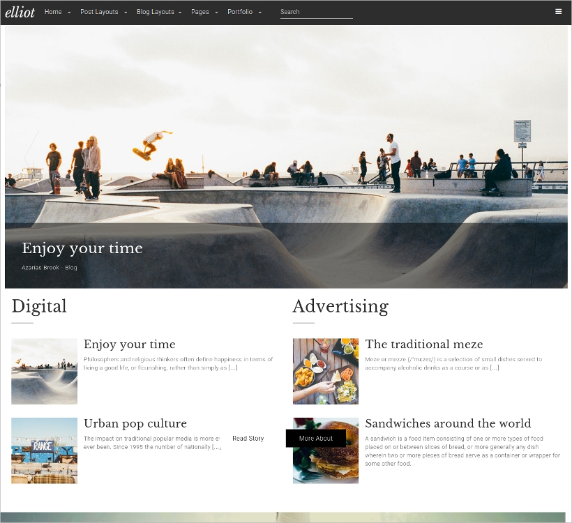 clean blog magazine wordpress theme