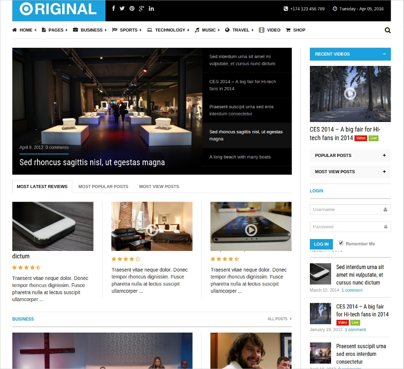 Editorial Magazine WordPress Theme