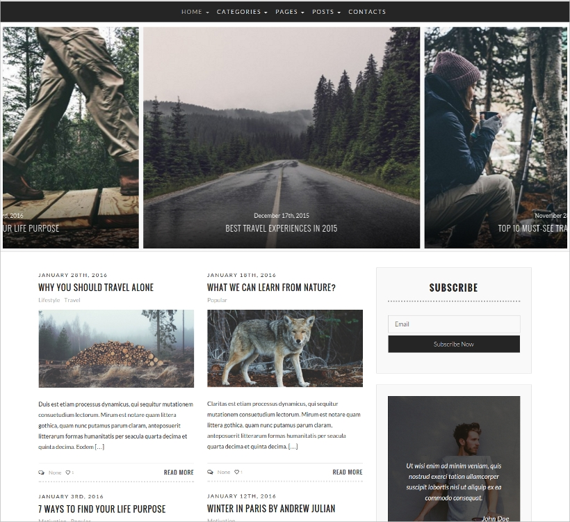 modern personal blog magazine wp theme