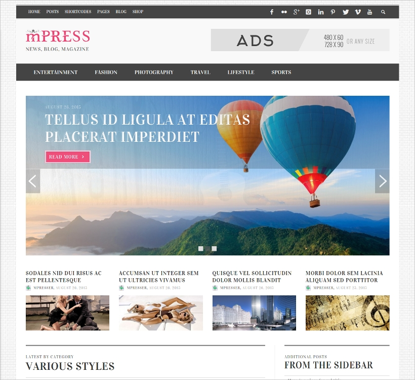 responsive high resolution magazine theme