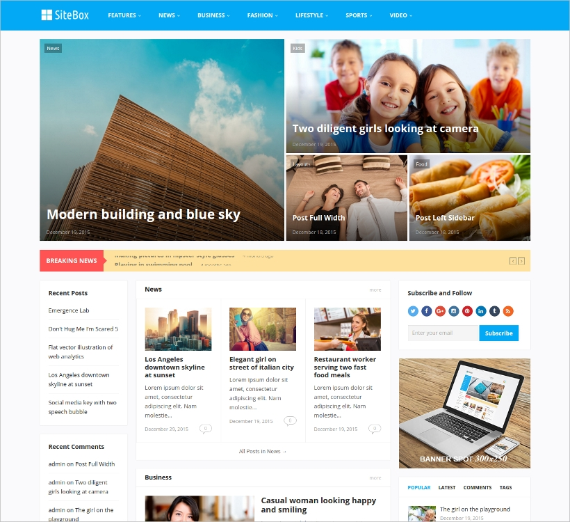 sitebox wordpress magazine theme