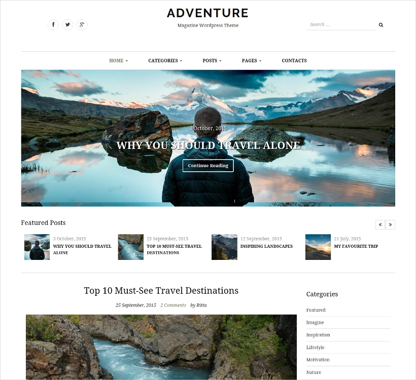 Adventure WordPress Magazine Theme