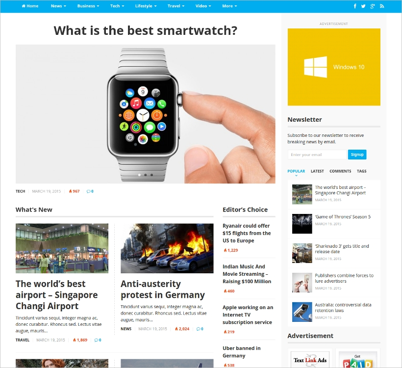professionally designed wordpress magazine theme1