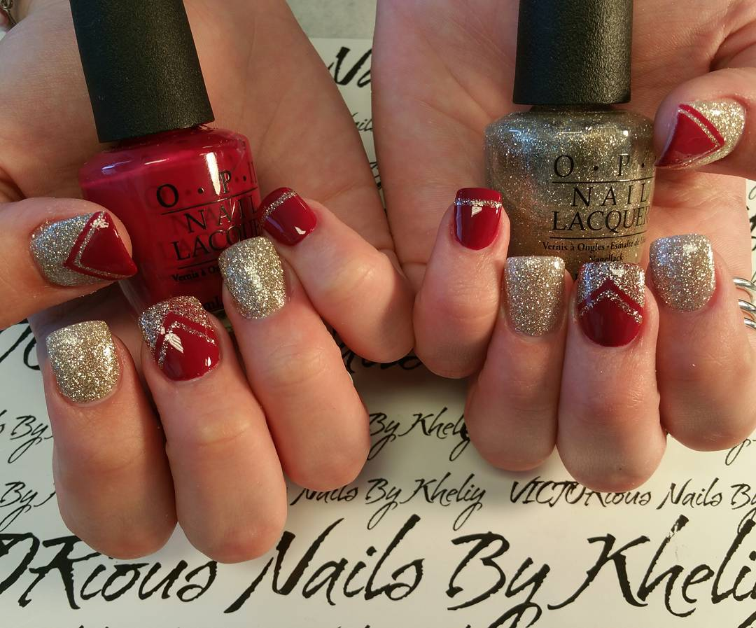 Red and Glitter Nail Art Idea