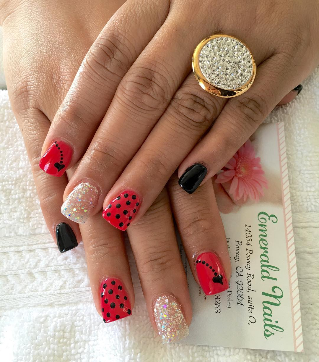 Different Designed Summer Acrylic Red Nails