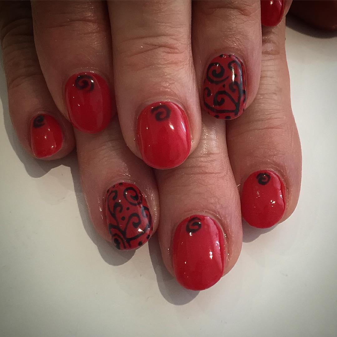 Black Glitter Line Design On Red Nails