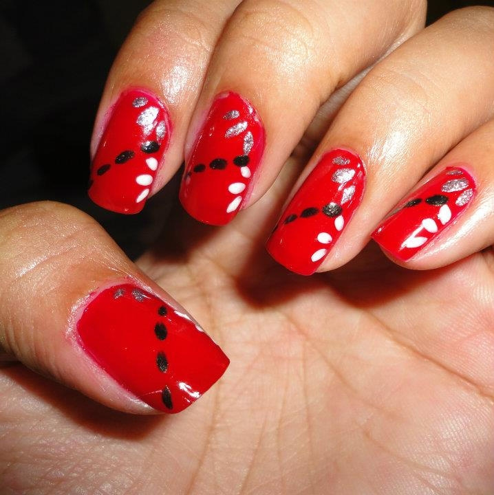 Pretty Dotted Red Nail Art
