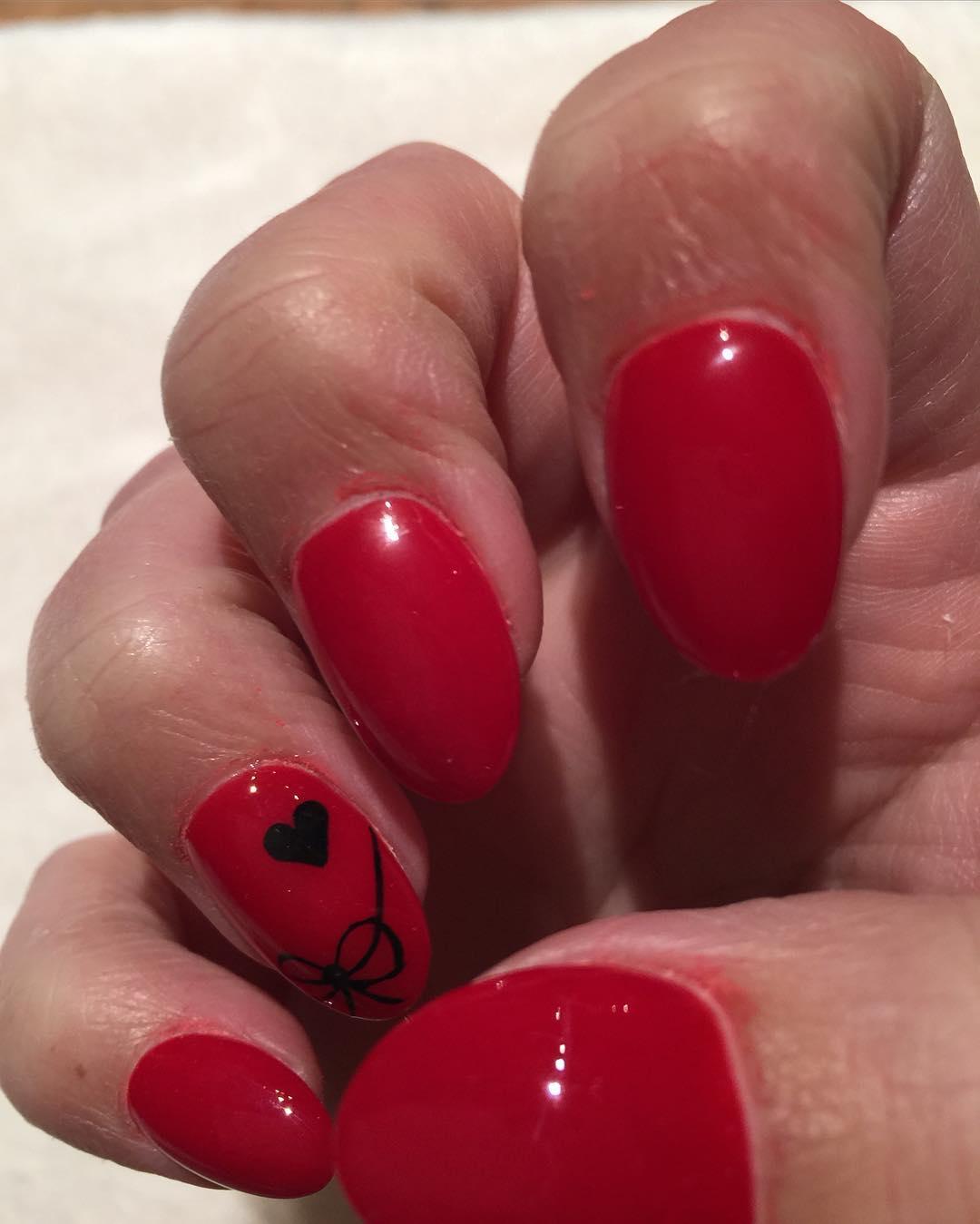 Black Ribbon Design On Summer Acrylic Nails