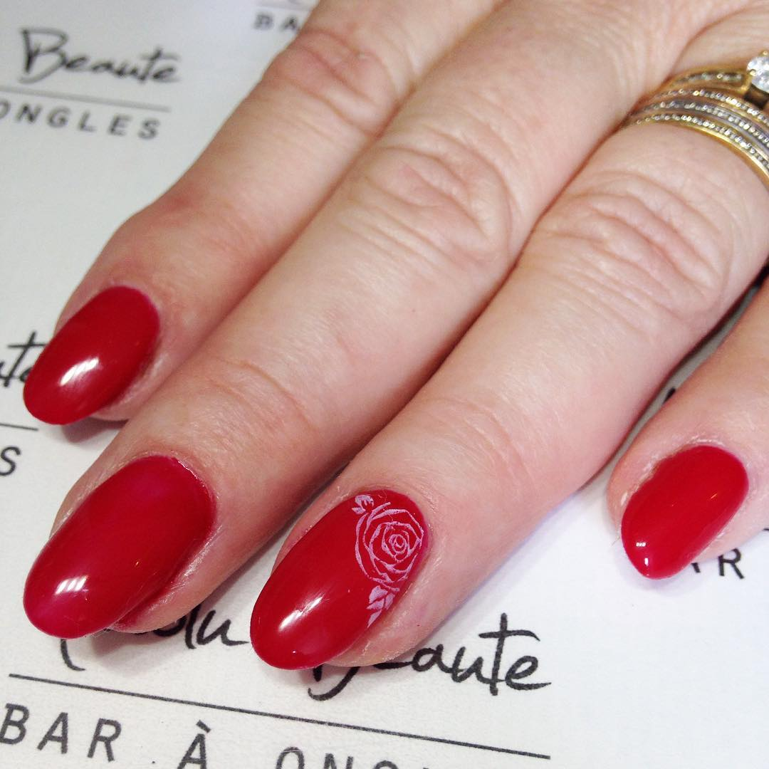 Small Rose Flower Design On Red Nails