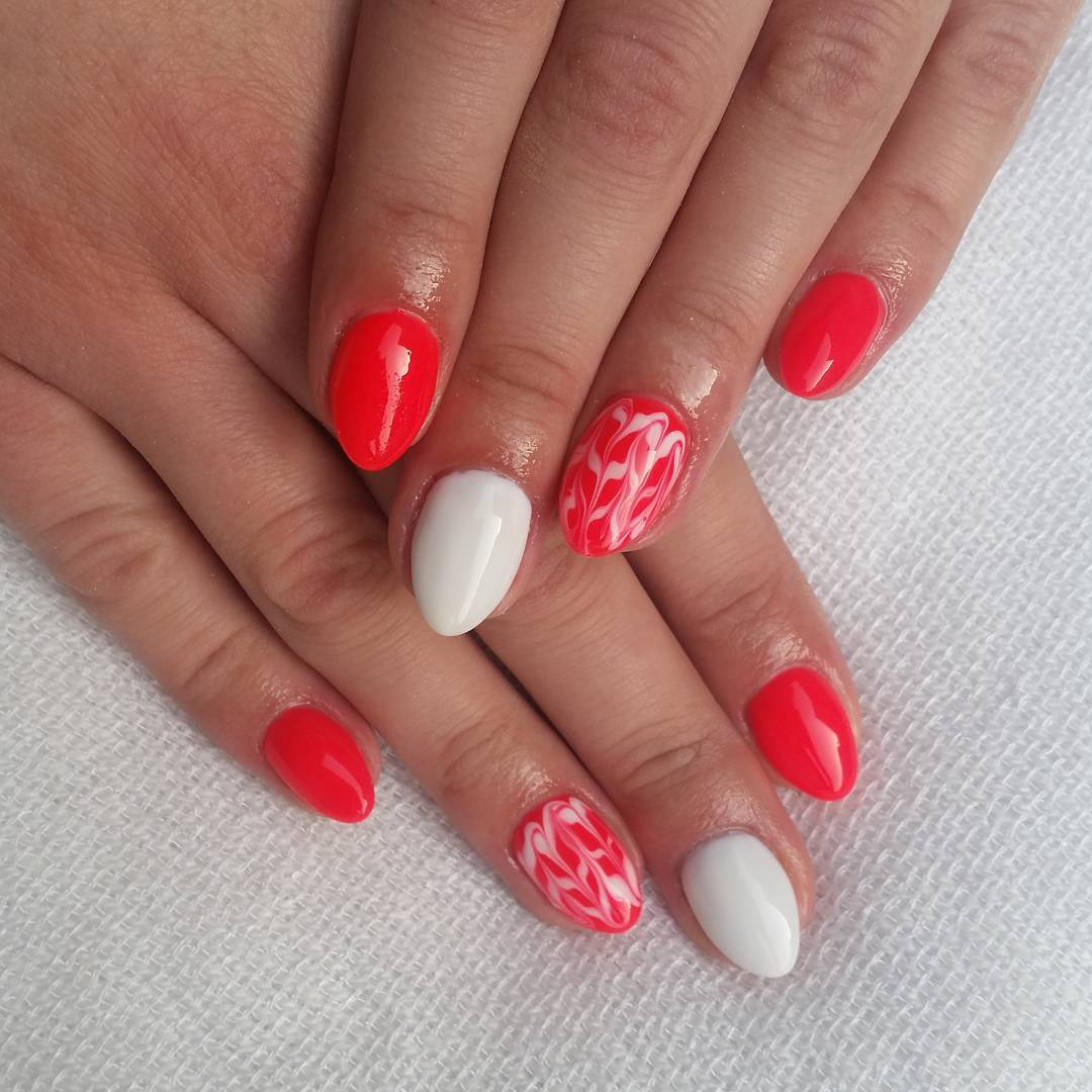 White and Red Polished Nail Design