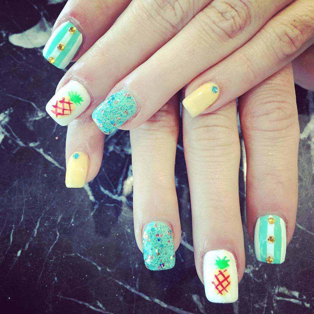 Pineapple Nail Design For Fall
