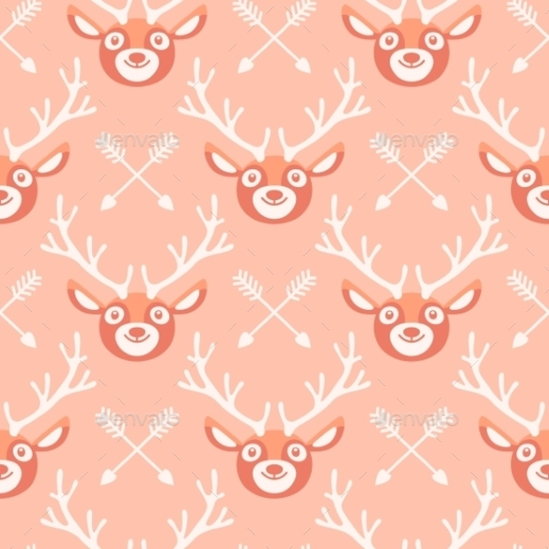 Hipster Pattern with Deer and Arrow