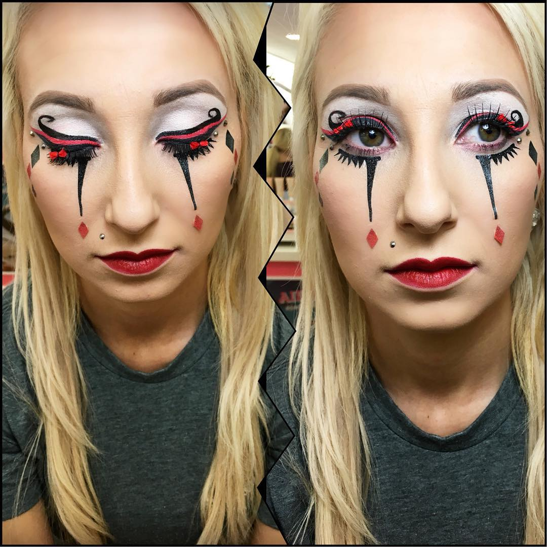 Attractive Harlequin Makeup Design