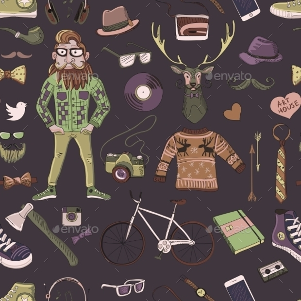 hand drawn hipster style pattern
