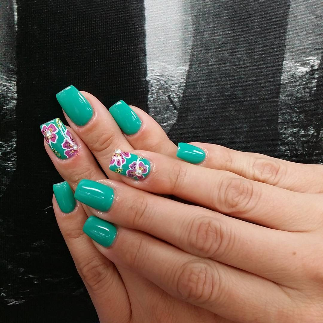 26 fall acrylic nail designs ideas design trends premium psd floral blue nail art for medium nails prinsesfo Gallery