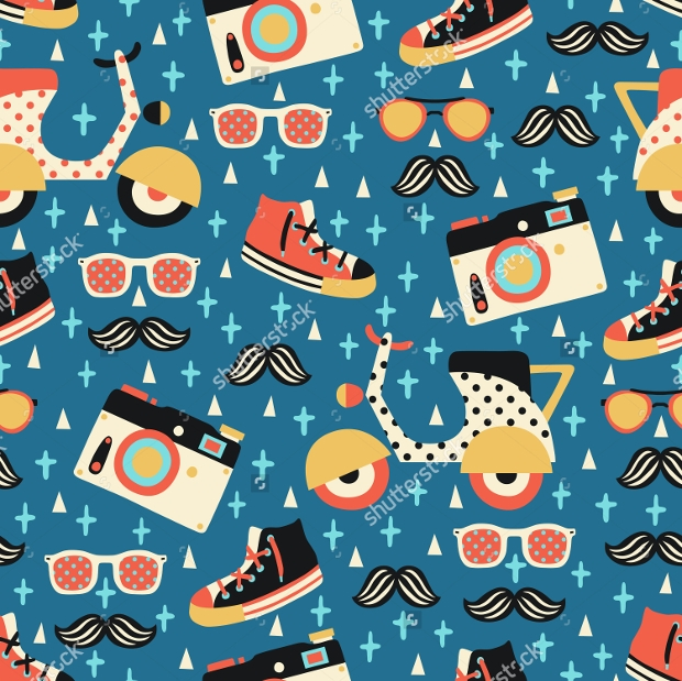 hipsters blue background seamless pattern