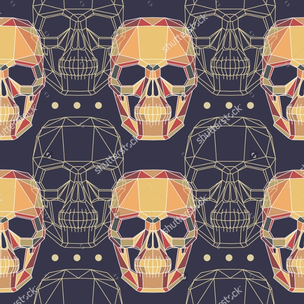 Abstract Human Skull Pattern with Hipster Style