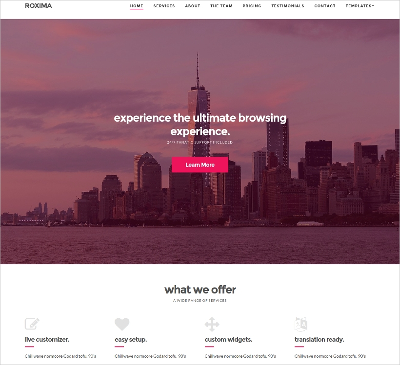 One Page Business WordPress Theme