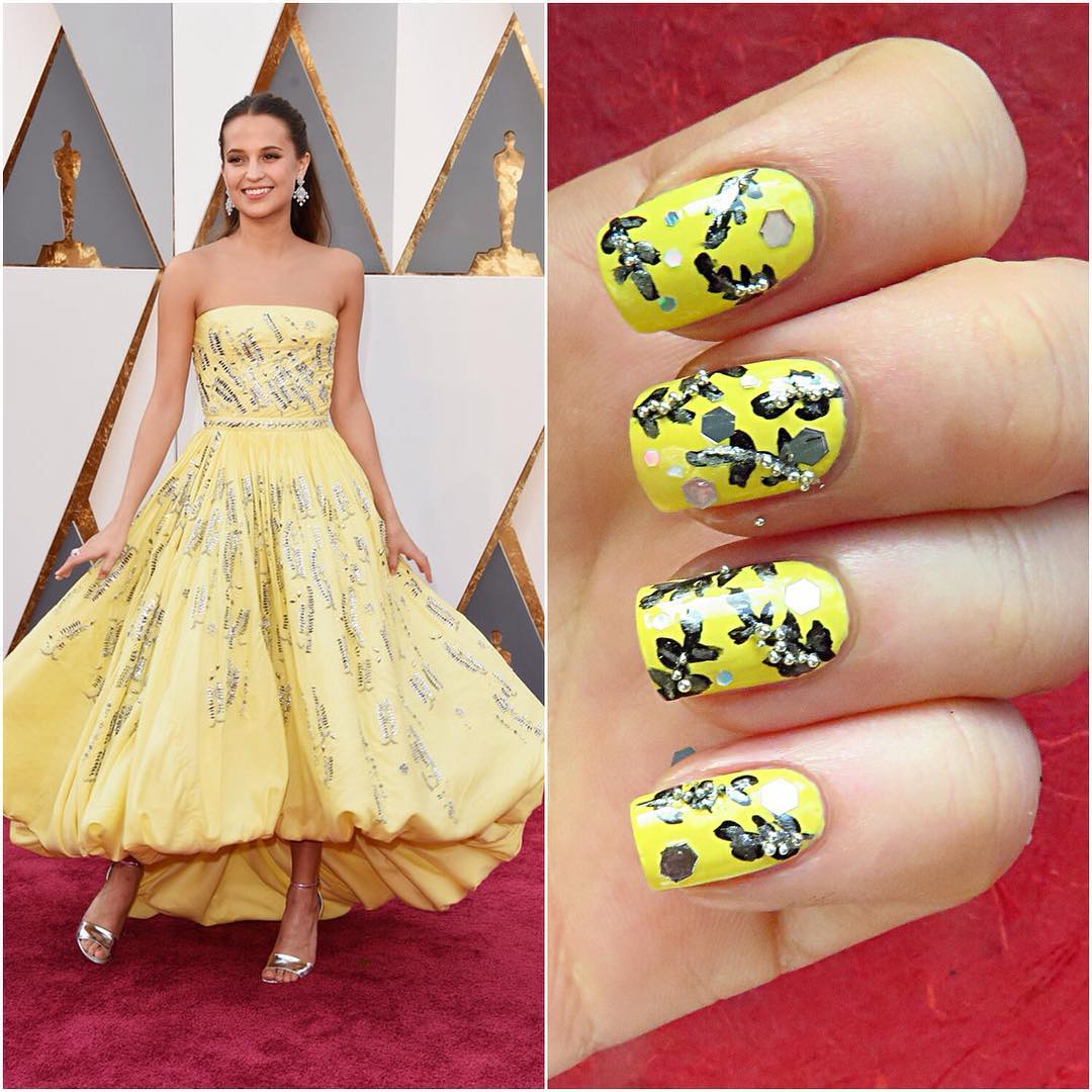 Celebrity Yellow Nail Art Idea
