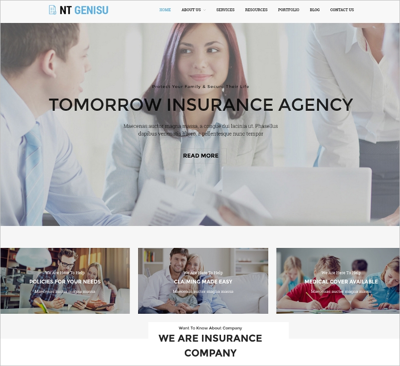 WordPress Theme for Insurance Company