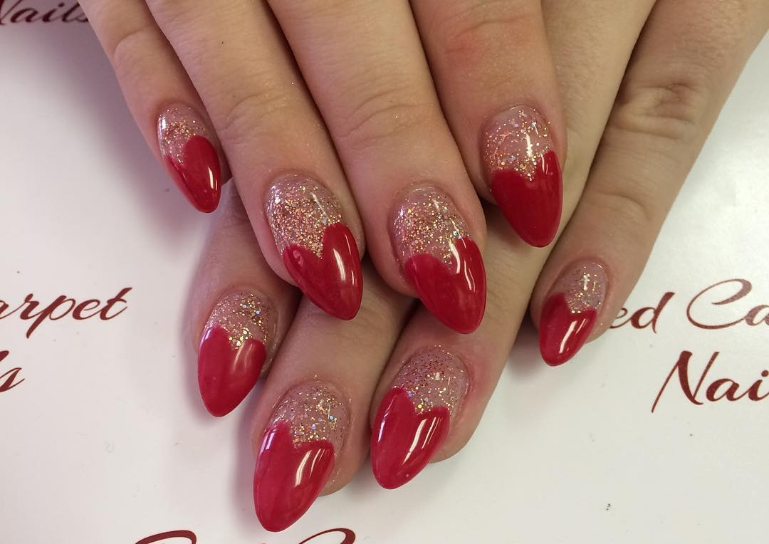 Red Heart shaped Carpet Nail Design.