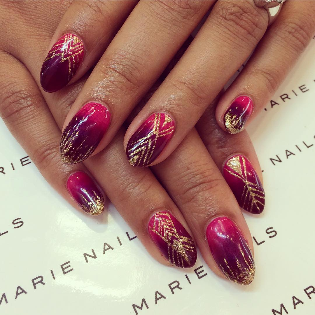 Two shaded Nail Design For Red Carpet