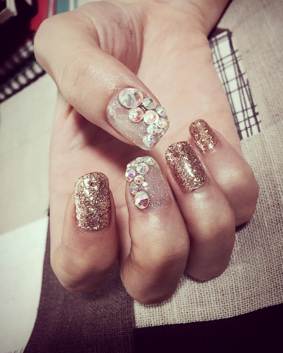 Crystal Decorated Nail Art Design