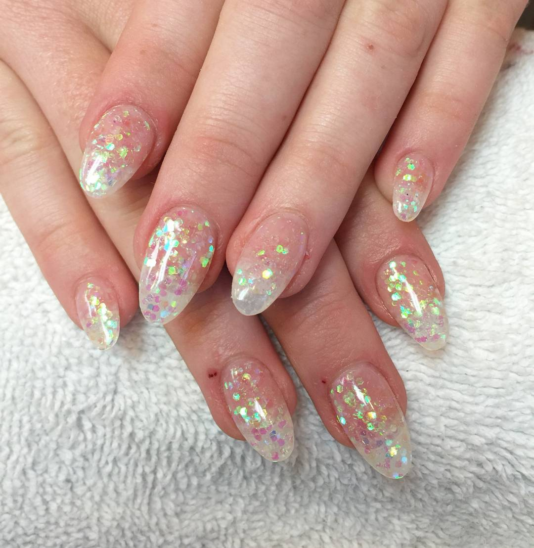 Skin Colored Almond Nails With Glitter