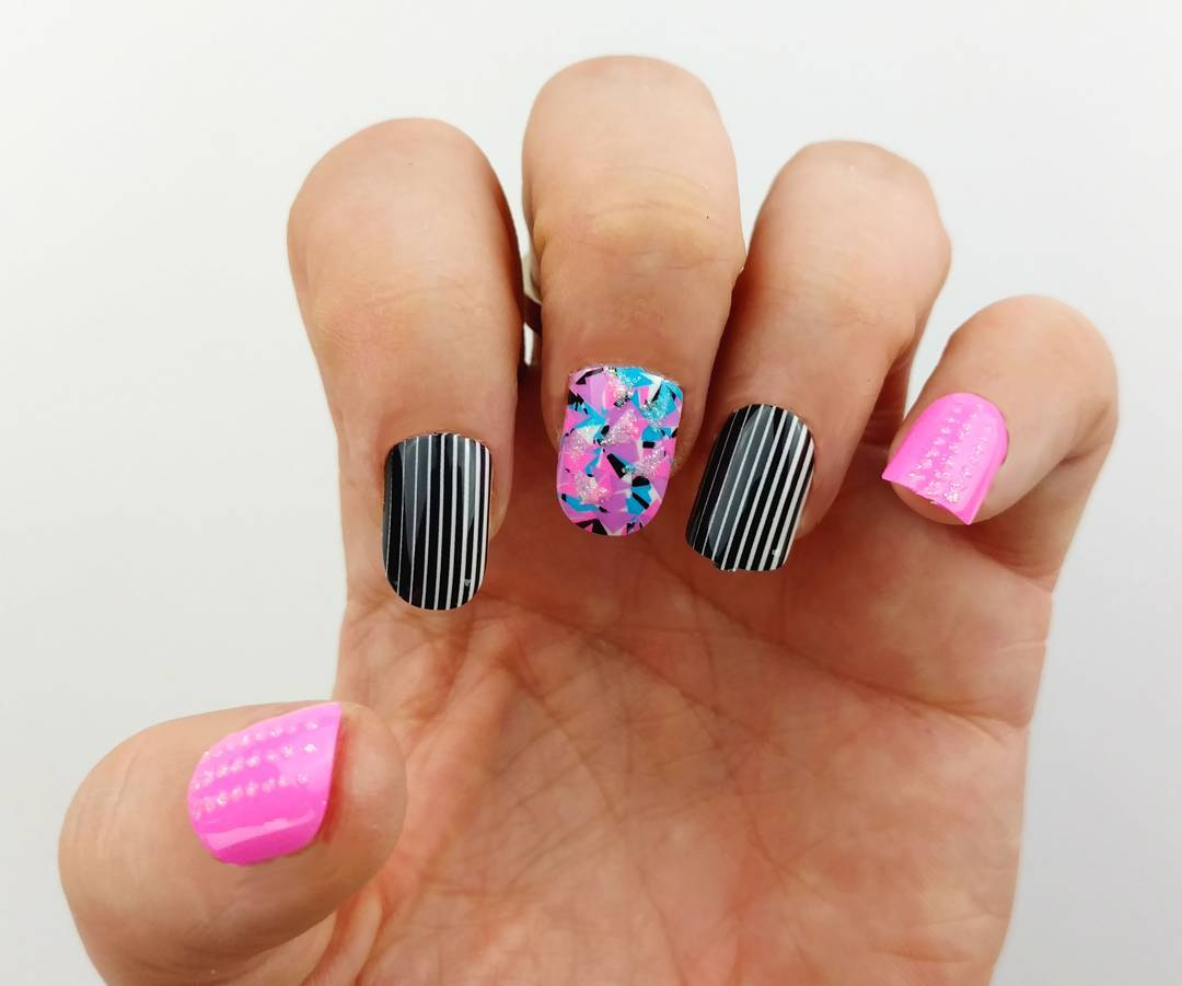 Pink and Black Red Carpet Nail Art