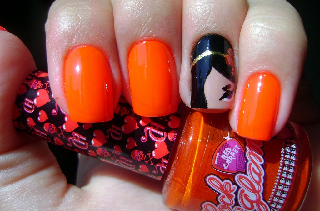 Orange Colored Red Carpet Nail Paint Idea