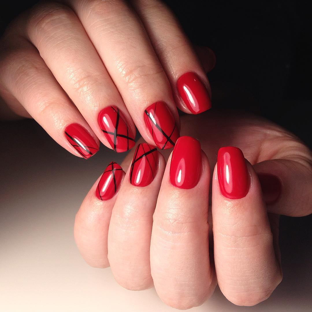 Red Colored Nails With Black Lines