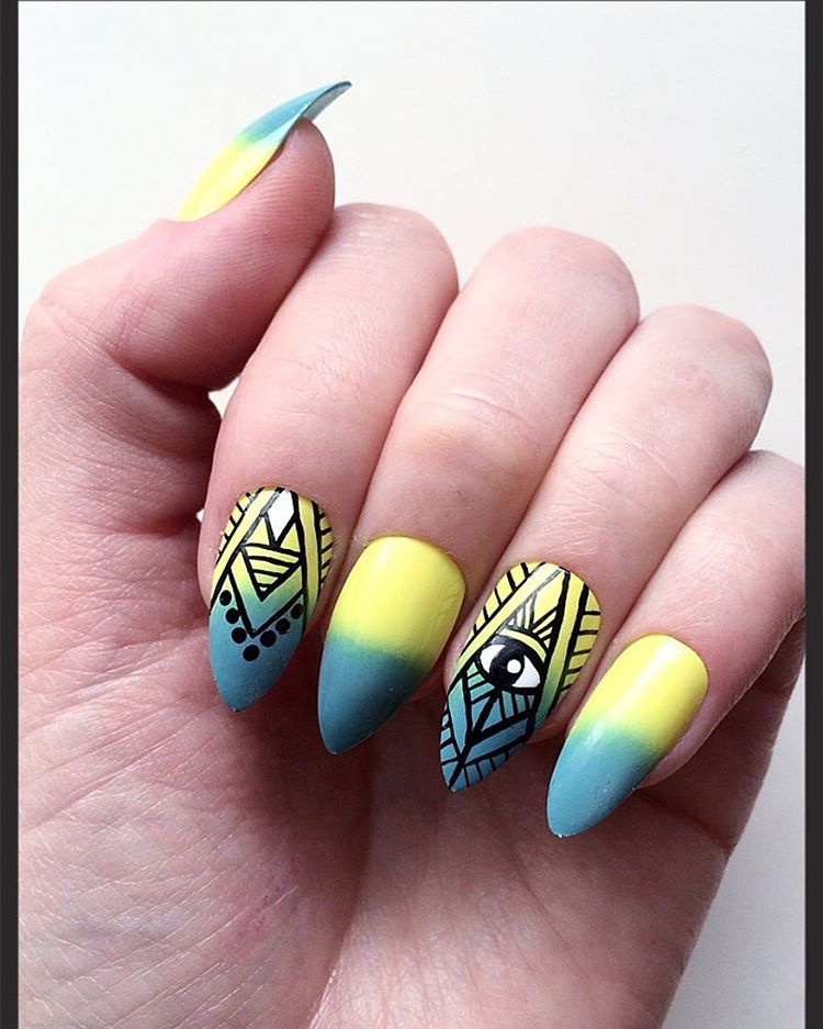 Cool Yellow and Blue Nail Design