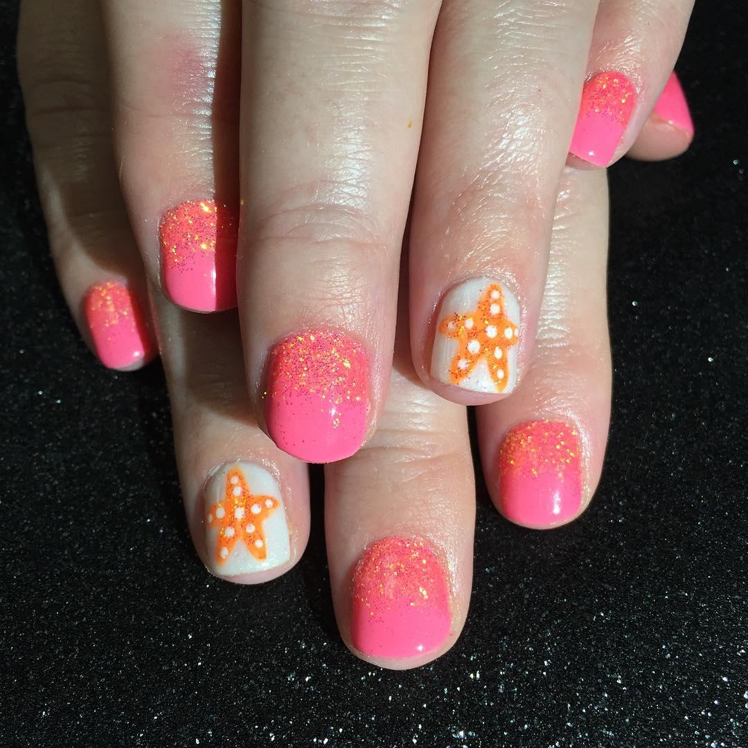 star fish nail art for small nails