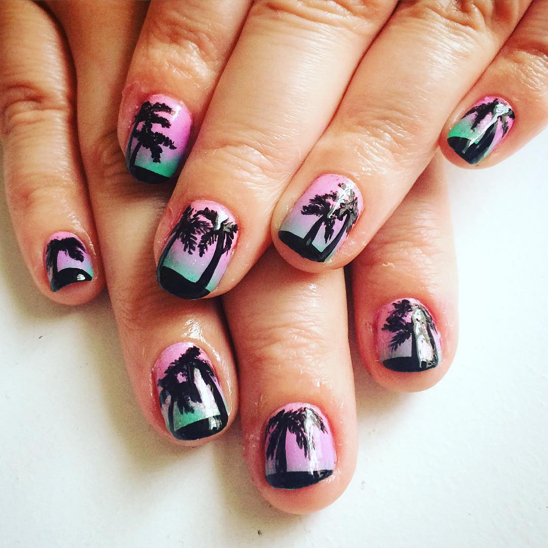 Black Palm Tree Nails For Summer.
