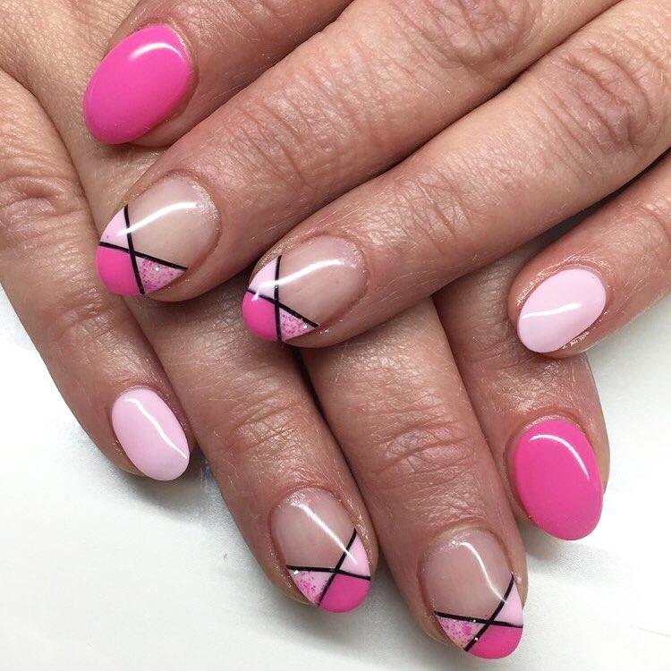 pink colored half nail art design