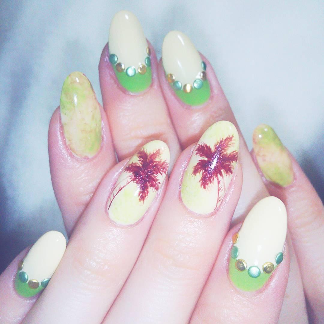 trees nail design on white nails