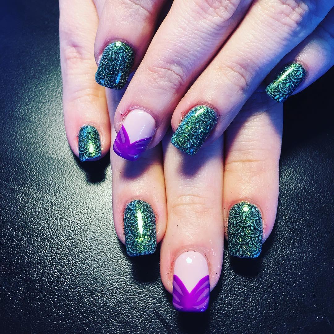 shining spring mermaild nail art design