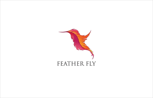 Curved Feather Logo Design
