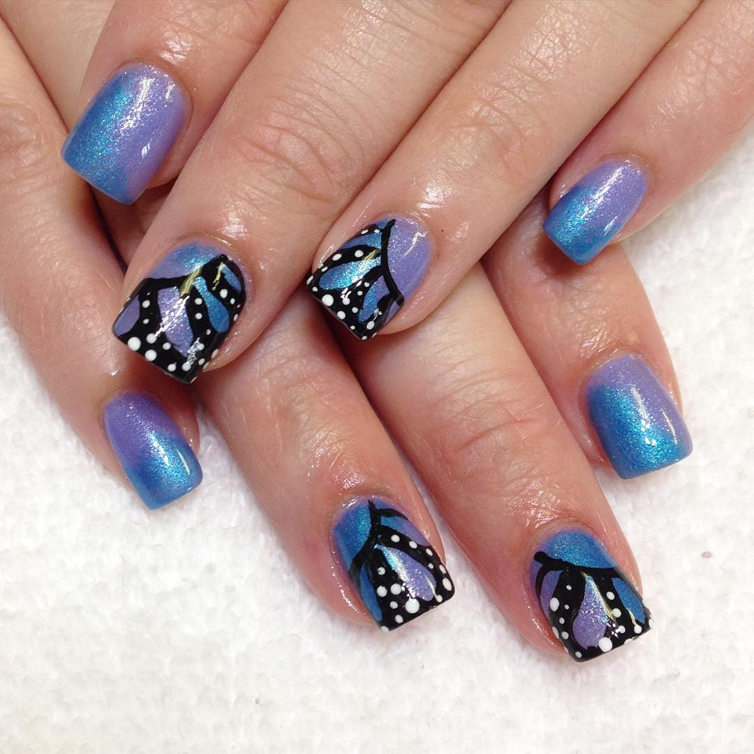Butterfly Blue Colored Nail Design