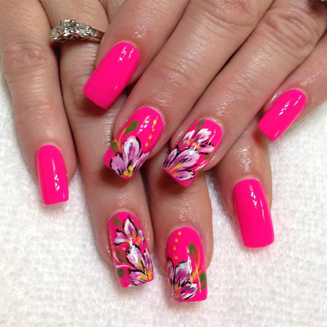 Bright Pink Summer Nail Design Idea