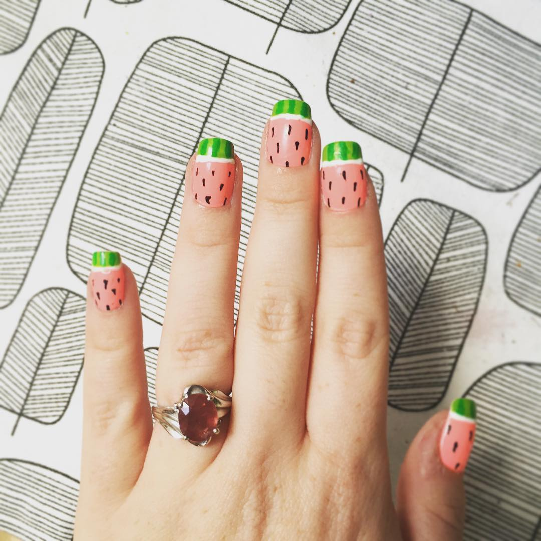 Cute Summer Watermelon Nail Design.