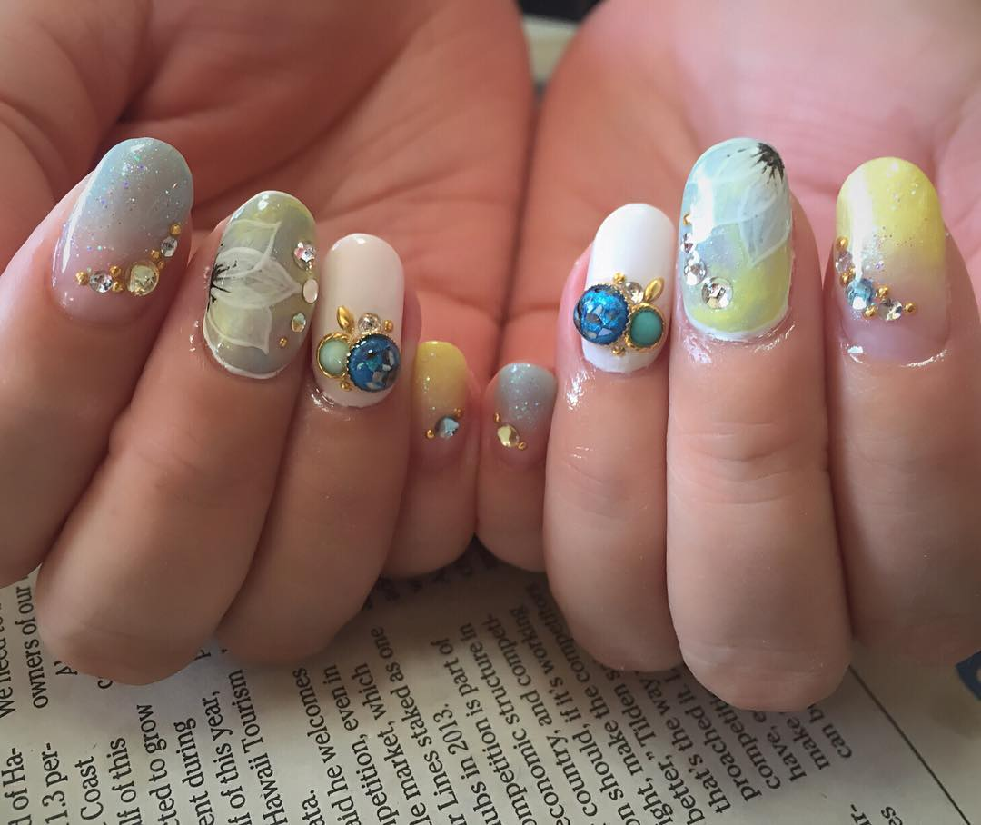 Gel Summer Nail Designs With Crystals