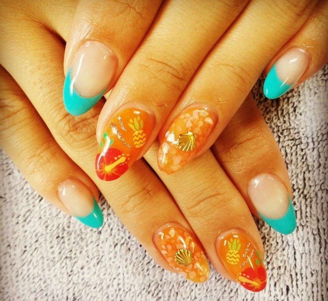 Pineapple Art Long Summer Gel Nails