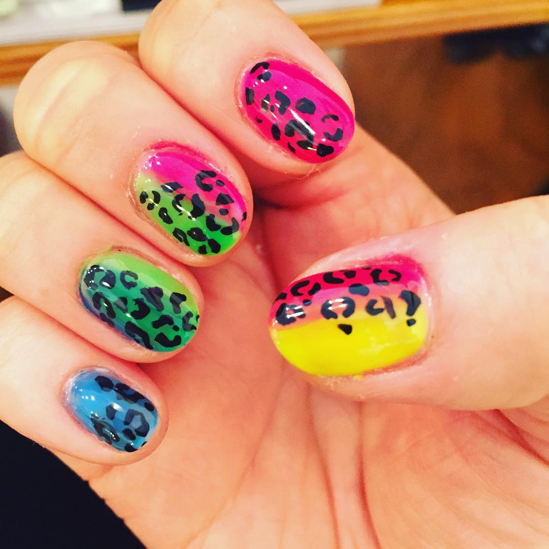 Colorful Leopard Print Design On Gel Nails.