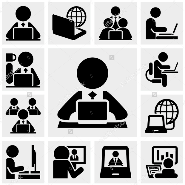 Computer Work with People Icon