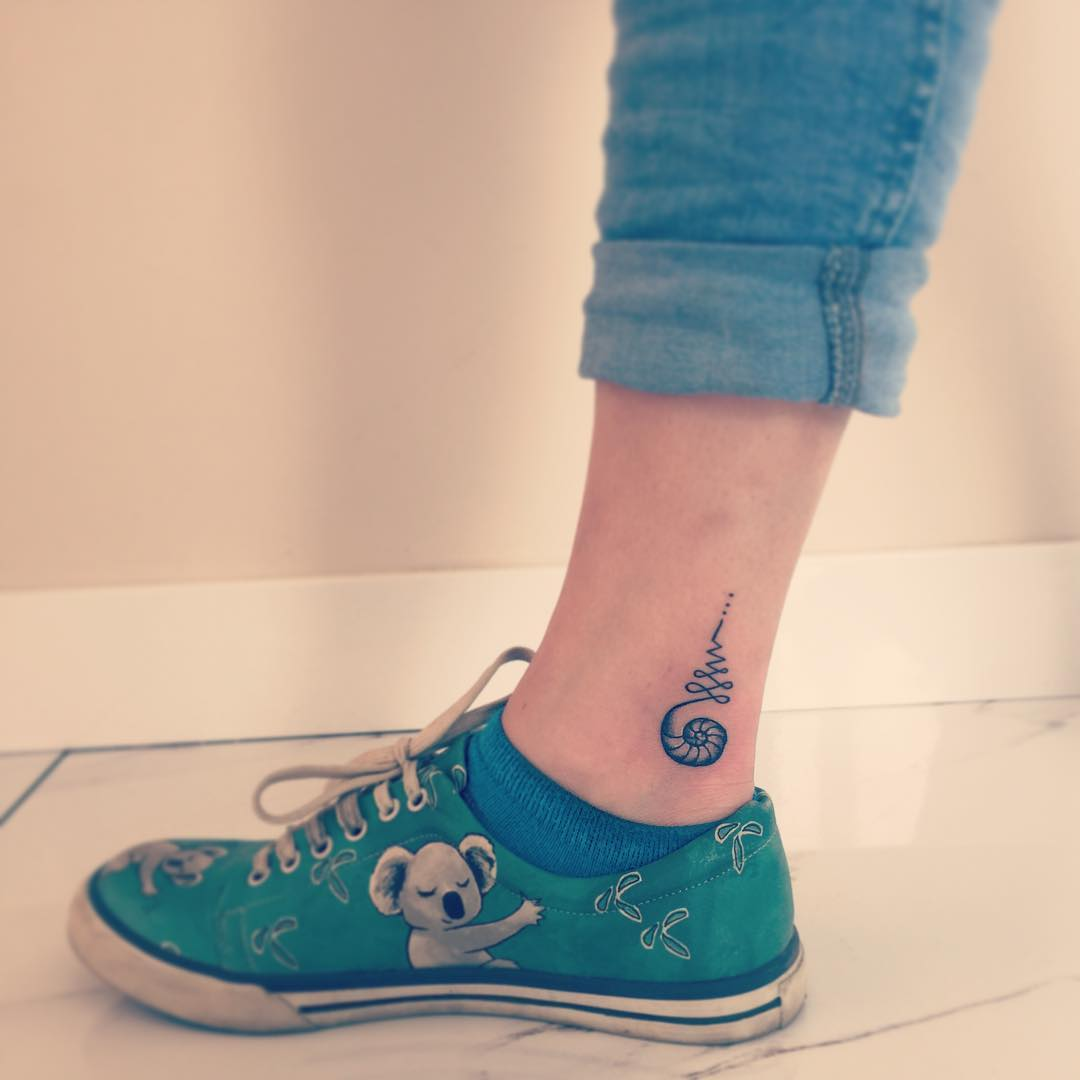 Trendy Ankle Tattoo Design